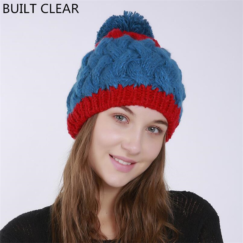 New 2017 autumn and winter women thickening double color stitching wool hat bamboo pattern hair ball knitting warm hat wholesale fashion autumn and winter knitting wool hat men and women winter cap lovely hair ball beanies bone gorros accessory colorful new