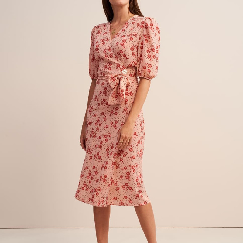 Women Flower Print Wrap Dress 2019 New Summer Short Sleeve French Fresh Chic Midi Dress