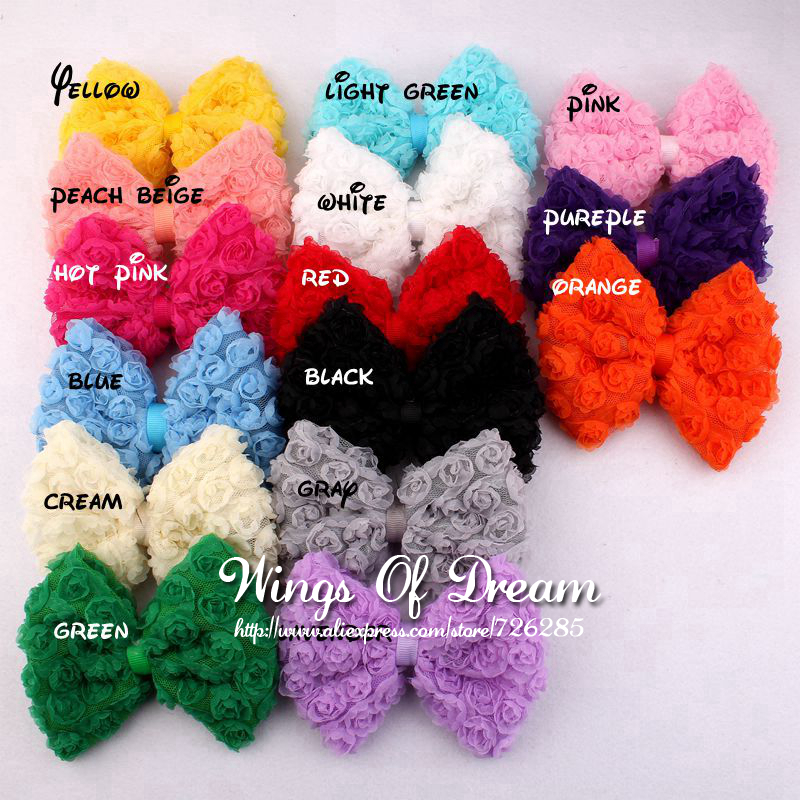 (30pcs/lot) 15Colors High Quality Handmade Fashion Big Soft Lace Hair Bows Artificial Baby Girls/Women Winter Hair Accessories