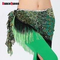 2015 Spring Belly Dance Accessories Peacock Hip Scarf Dancewear Belly Dancing Tassel Bellydance Belt Belly Dance
