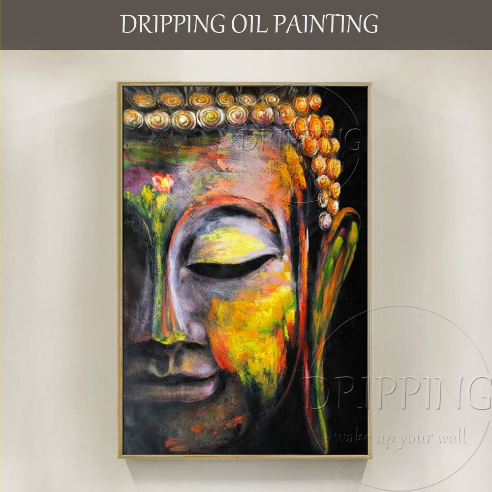 Artist Hand-painted High Quality Half Portrait Buddha Oil Painting on Canvas Modern Art Buddha Face Oil Painting for Living Room