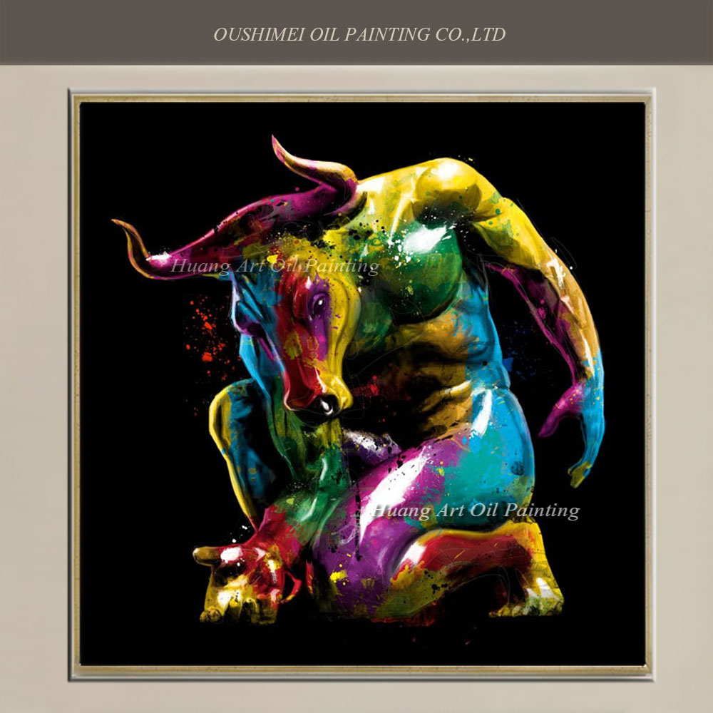 New handmade modern strong bull people oil painting for Abstract painting on black canvas