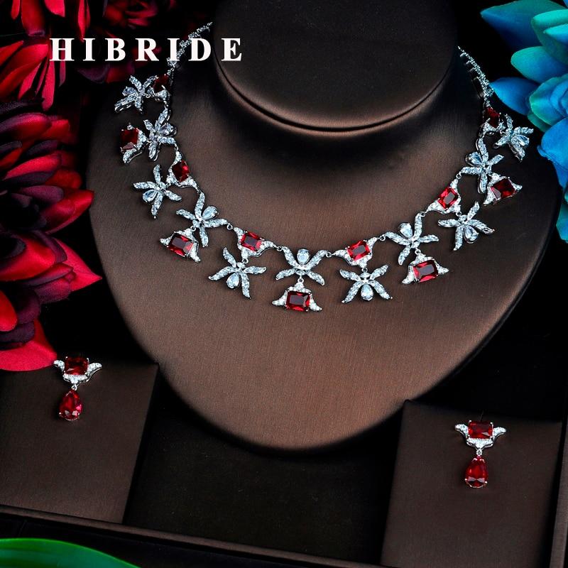 HIBRIDE font b Luxury b font Design Red Cubic Zircon font b Jewelry b font Sets