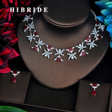 HIBRIDE Luxury Design Red Cubic Zircon Jewelry Sets For Women Bridal Dress Dinner Fashion Accessories Bijoux Mariage Gift N-521