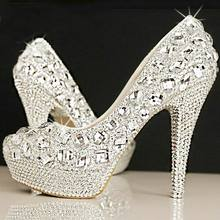 Crystal bridal shoes rhinestone handmade female silver high heels platform wedding shoes women pumps