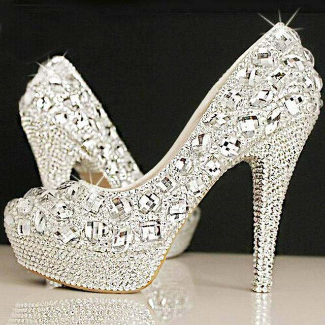 80e323945c5 Crystal bridal shoes rhinestone handmade female silver high heels platform wedding  shoes women pumps