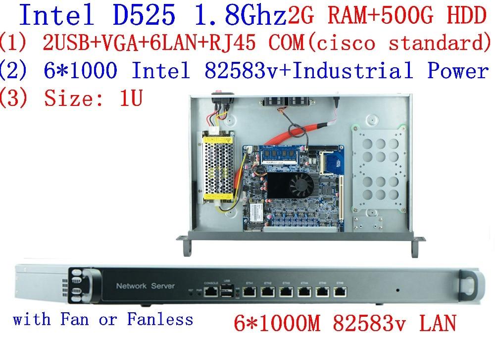 Атом D525 1u сервер брандмауэр Dual Core 6 * intel 1000 м 82583 В поддержка ROS Mikrotik pfsense panabit wayos 2 г Оперативная Память 500 г HDD