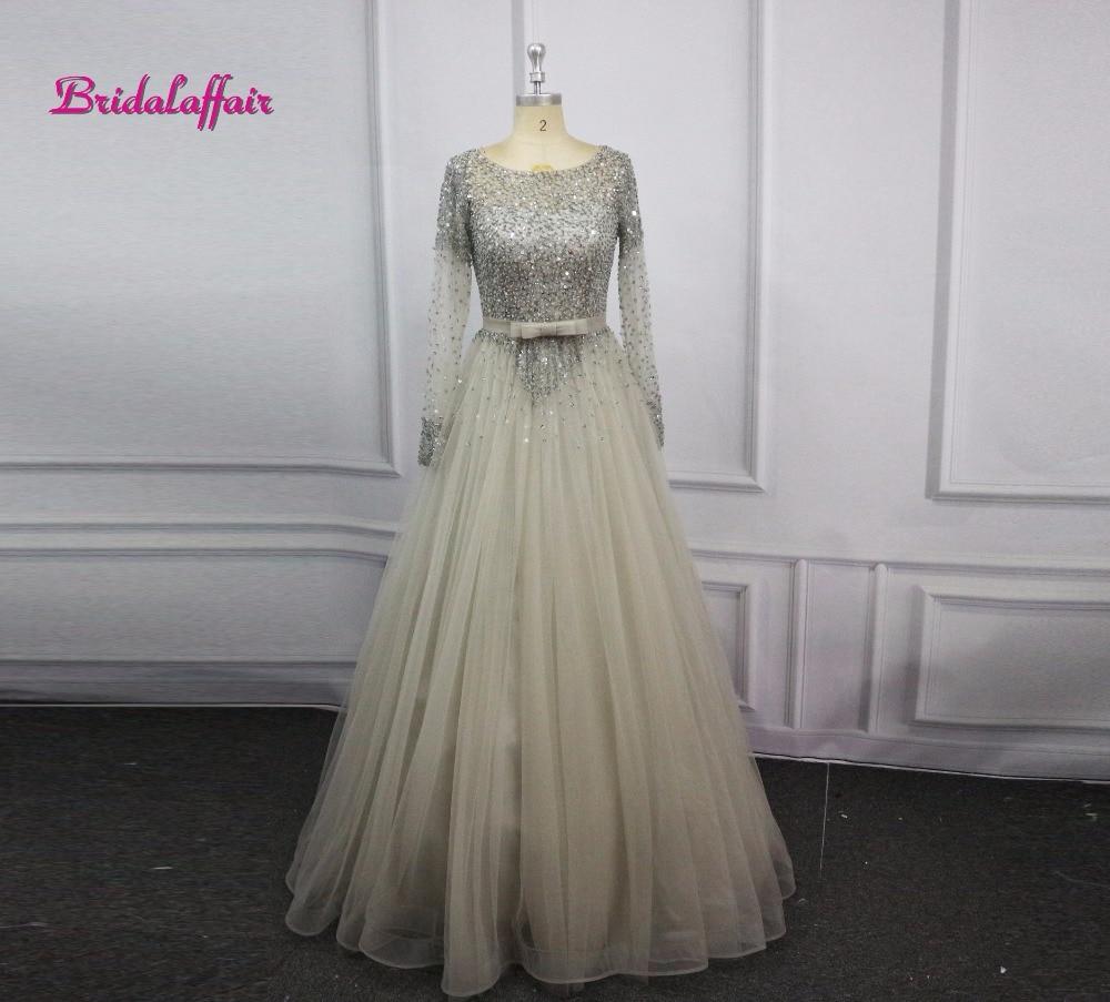 Luxury Tulle Beading Long Sleeve Prom Dresses O-Neck Evening Party Dress A-Line Vestido De Festa Cheap Sequin Evening Dresses
