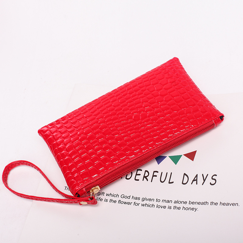 2018 new women's zipper purse soft leather crocodile pattern student thin mobile phone bag 0708