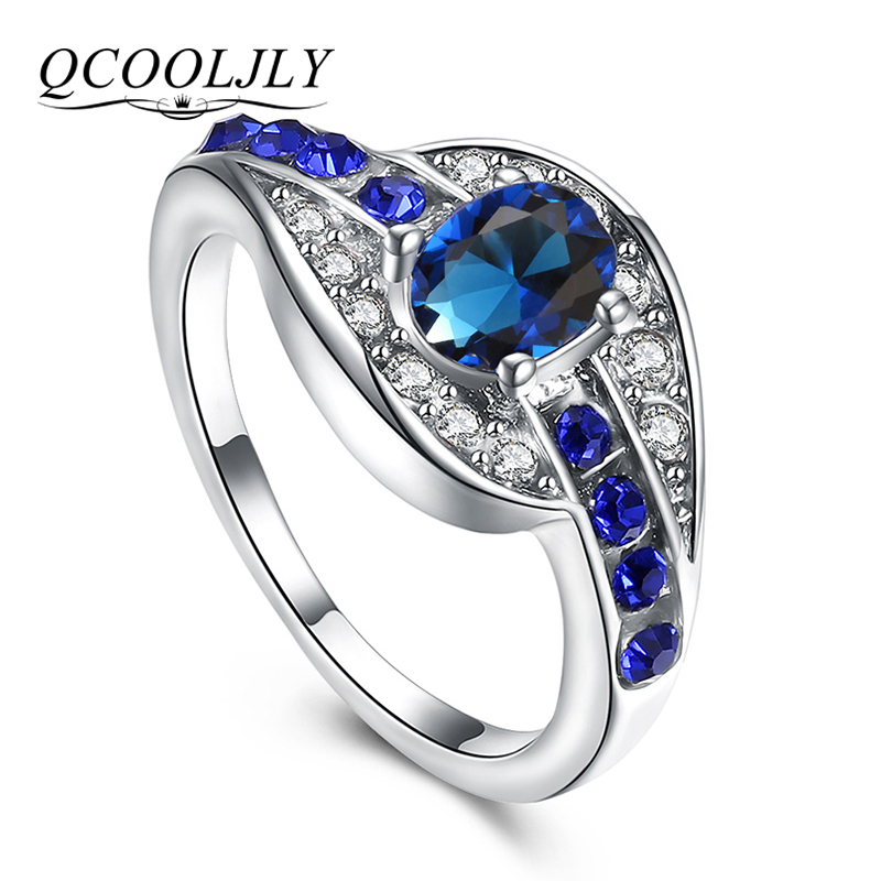 Qcooljly Unique Female Blue Oval Ring Fashion White Gold Color