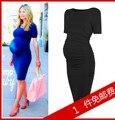 Maternidade-ol one piece-vestido de primavera e verão vestuário de moda de maternidade-verão de uma peça vestido de intestino médio