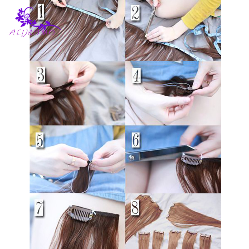 100pcslot U Style Dark Brownwhite Snap Clip For Hair Extensions