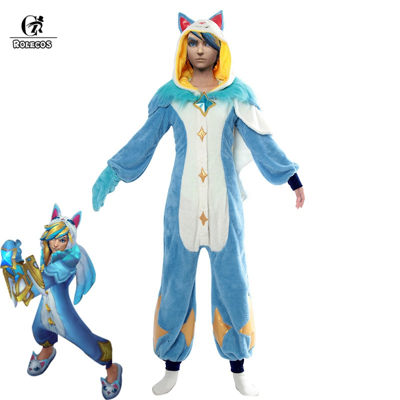 ROLECOS Ezreal LOL Original Cosplay Costume Pajama Star Guardian LOL Cosplay Costume Ezreal Star Guardian Winter