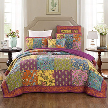 CHAUSUB Vintage Cotton Quilt Set 3pcs Handmade Patchwork Bedspread Quilted Quilts Pillowcase Coverlet King Size Bedding Blanket