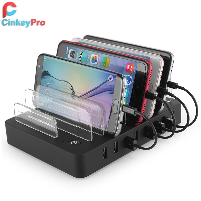 CinkeyPro Tables chargeur USB Station de recharge 8 Ports pour iPhone iPad Samsung téléphone portable Charge universelle 96 W Station
