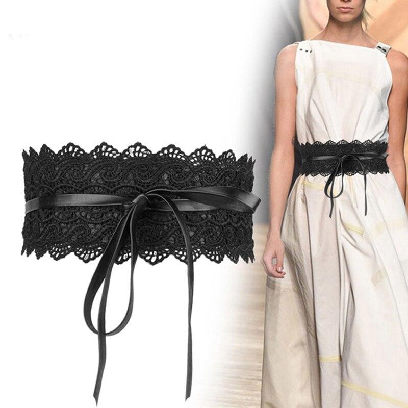 Fashion Lace Soft Leather Belts Women Sweet Adjustable Elasticity Lace-up Belt  Female Solid Decoration Wide Waist Belt For Lady