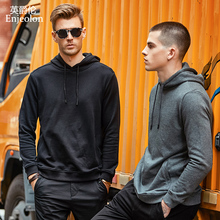Enjeolon brand Long Sleeve Sweatshirt Men hoodies Black casual cotton Solid Pullover Clothing plus size 3XL WY104