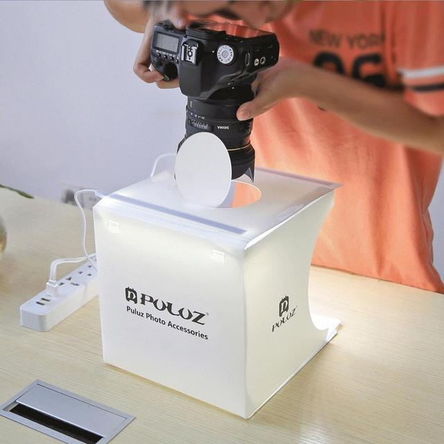 PULUZ 2LED Lightbox Light box Mini Photo Studio Box 1100LM Photography Box Light Studio Shooting Tent Box Kit &6 Color Backdrops 3