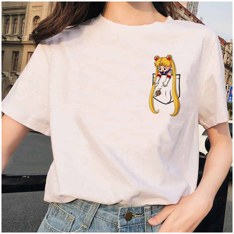 HTB1S2tgcB1D3KVjSZFyq6zuFpXaP Sailor Moon printed short sleeves