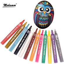12 24 צבעים/סט STA אקריליק צבע קבוע מרקר עט עבור קרמיקה רוק זכוכית פורצלן ספל עץ בד בד ציור