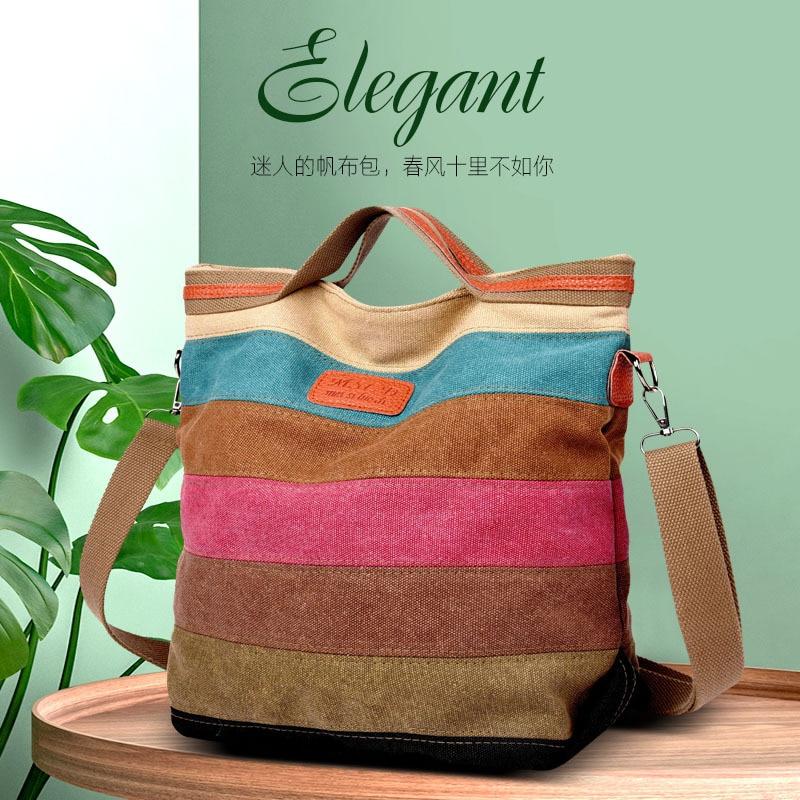 Women's Bucket Shoulder Bag Collision Color Bar Leisure Bag Oversize Canvas Handbag