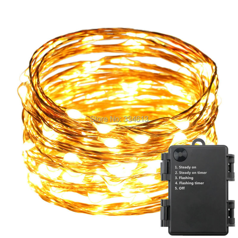 1/3/5pcs 6AA Battery Operated Indoor Outdoor 10M/33Ft 100 LED Waterproof Copper Wire Starry String Rope Lights With Timer Flash