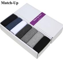 Match Up Mannen Katoen Klassieke Zakelijke Merk Man Sokken, Effen Kleur Mannen Sokken (7 Paren/partij) geen Geschenkdoos