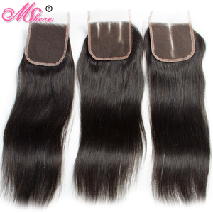 Image 5 - Peruvian Straight Hair With Lace Closure Free Part 4PCS Human Hair Bundles With Closure Mshere Hair Non Remy Hair Extensions 1B