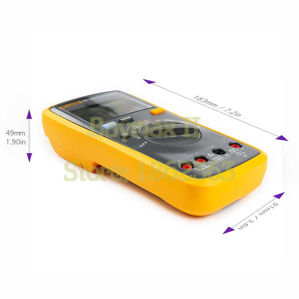 Fluke 12E + Auto zakres cyfrowy multimetr AC/DC napięcie prądu Tester z Ohm, pojemności, odporność na pomiar i torba do przenoszenia