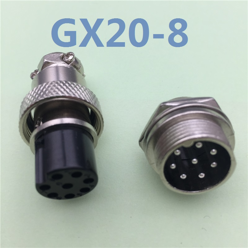 1pcs GX20 8 Pin Male & Female 20mm Wire Panel Connector Aviation Plug L100 GX20 Circular Connector Socket Plug Free Shipping 1pcs gx20 5 pin male