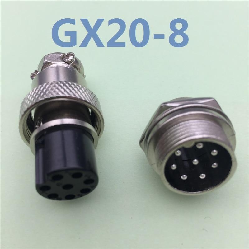 все цены на 1pcs GX20 8 Pin Male & Female 20mm Wire Panel Connector Aviation Plug L100 GX20 Circular Connector Socket Plug Free Shipping