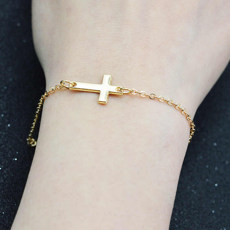 God Jesus Christian Stainless Steel Horizontal Sideways Cross Bracelets Silver Charm Womens Mens Keepsake Girl Baby Bracelet