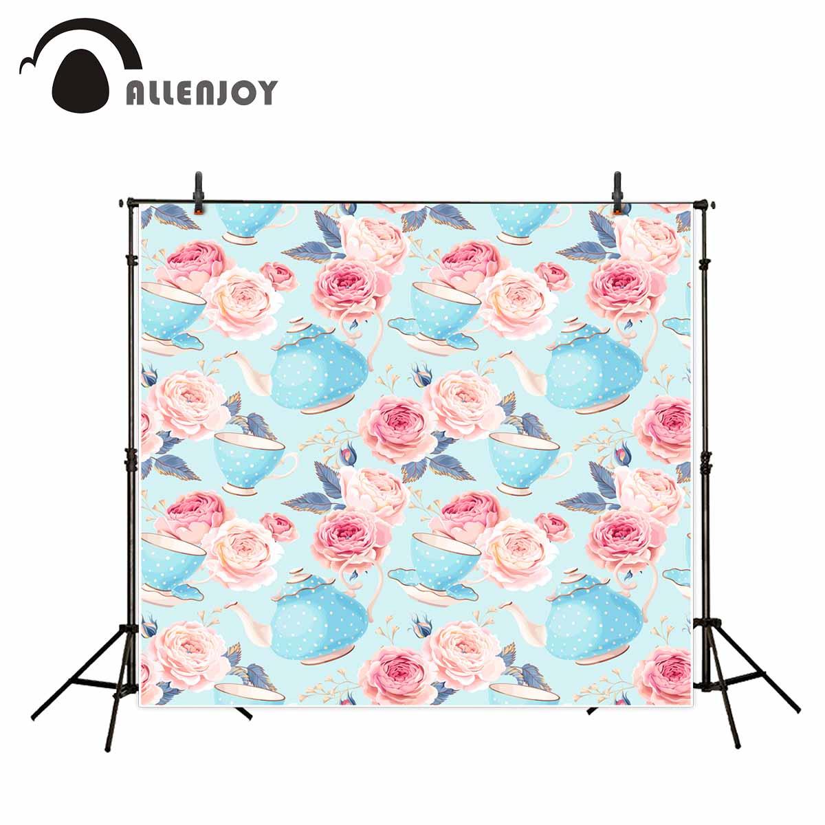 Allenjoy fotoğraf arka planında Ikindi çayı çocuk arka plan backdrop çiçekler için açık mavi arka plan fotoğraf için