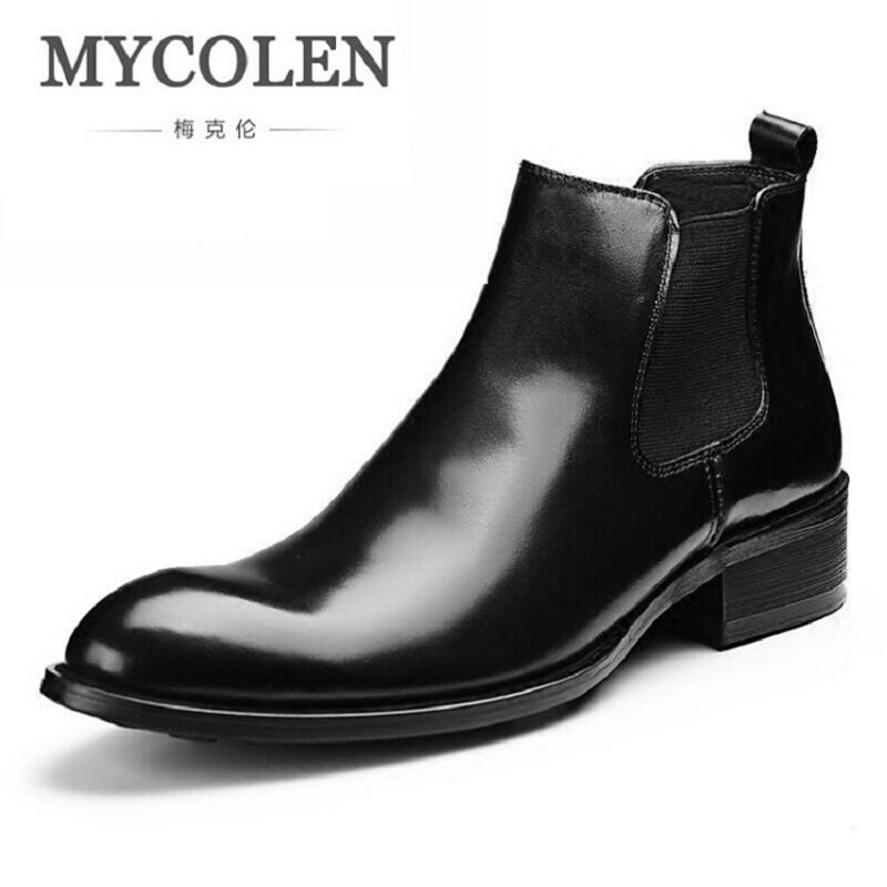 MYCOLEN Brown Outdoor Chelsea Boots Mens Black Genuine Leather Ankle Autumn Winter Boots Round Toe Casual Dress Shoes Men botas black autumn men ankle boots pointed toe botas hombre lace up botas militares wedding dress shoes mens cowboy boot