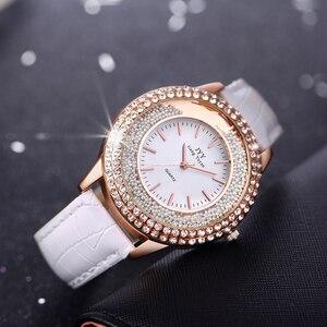 Image 3 - Dropship New Fashion Ladies Leather Crystal Diamond Rhinestone Watches Women Beauty Dress Quartz Wristwatch Hours Reloj Mujer