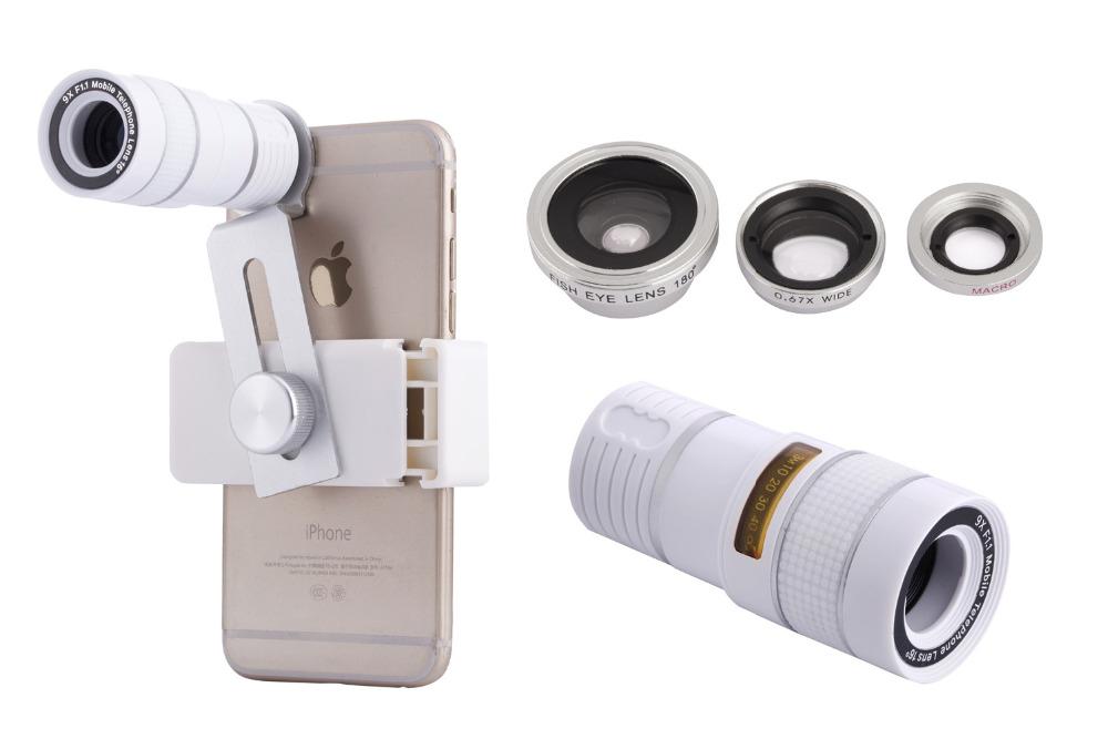 Zoom Optical Lens 4 in 1 Mobile Phone Telescope 9X Telephoto fish eye wide angle macro camera lens for iphone7 6 5 huawei lenovo 10