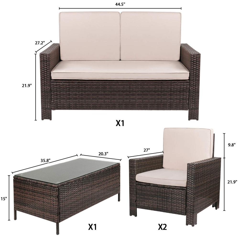Patio Furniture Sets 4 Pc Wicker Outdoor Sofa Set Rattan Sectional