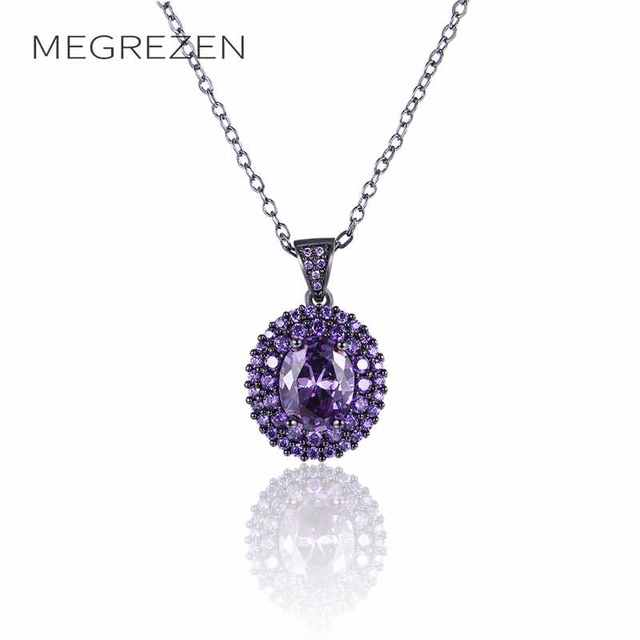 Aliexpress buy megrezen vintage chain necklace with purple megrezen vintage chain necklace with purple stone jewelry black necklaces pendants bijouterie christmas gift dropshipping n994 mozeypictures Gallery