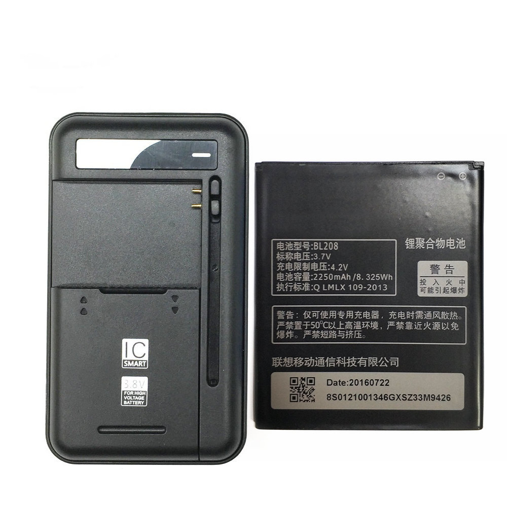 1PCS Universal battery Charger + 1PCS 2250mAh BL208 For <font><b>Lenovo</b></font> S920 <font><b>A616</b></font> A690E A5800-D Battery image