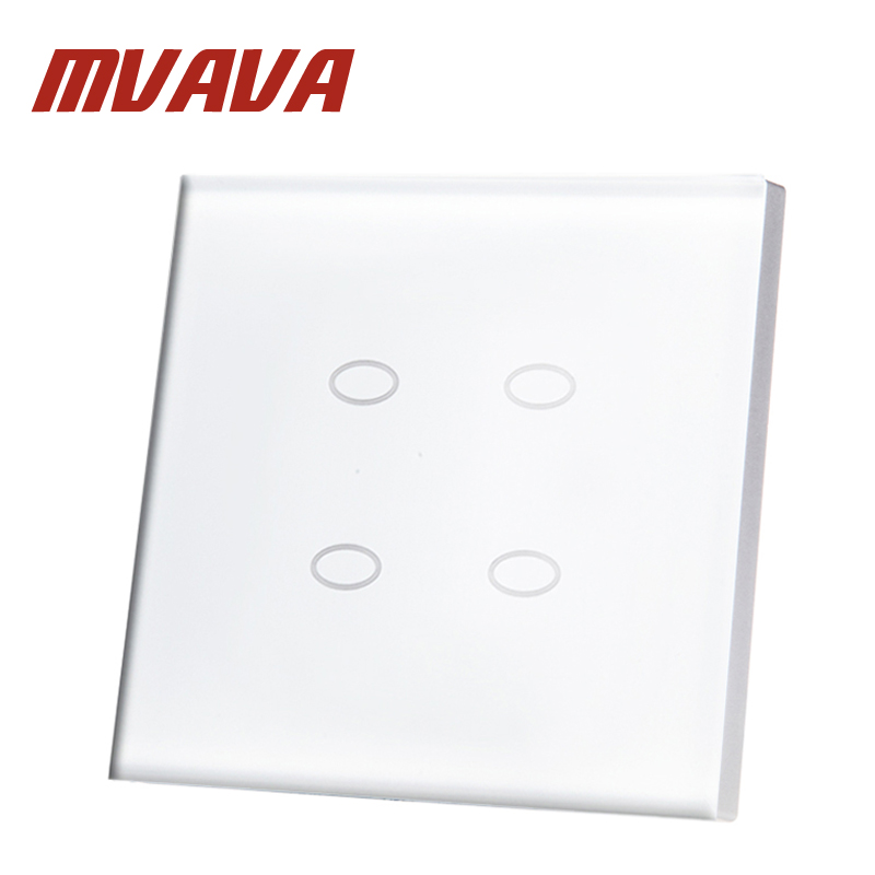 MVAVA Manufacturer 4 Gang 2 Way Touch Switch White Crystal Glass Panel Digital Touch Light Wall Home Switch LED Indicator Switch mvava 3 gang 1 way eu white crystal glass panel wall touch switch wireless remote touch screen light switch with led indicator