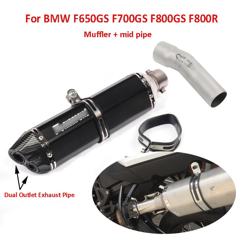 Motorcycle Exhaust System Muffler Mid Middle Link Pipe Slip On Exhasut Tip Baffler For BMW F650GS