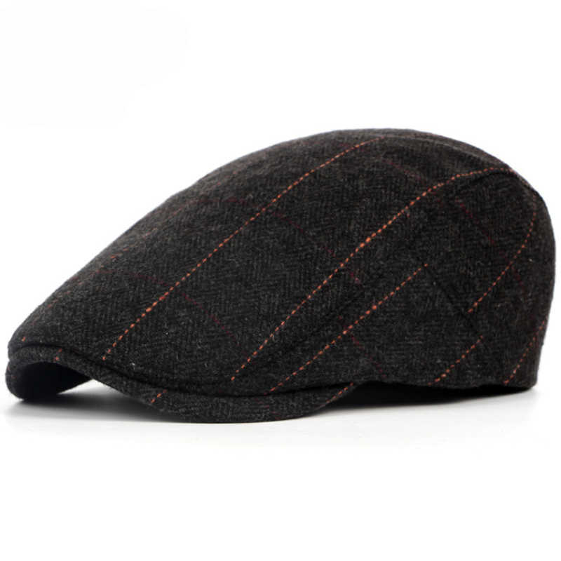 3420f36687e77 ... HT1329 2017 Autumn Winter Men Cap Hats Berets British Western Style Wool  Advanced Flat Ivy Cap ...