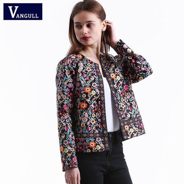 Vangull 2018 New Spring Botanical Jacket Autumn Basic Jacket for Women Multicolor Collarless Elegant Jackets and Coats Feminina 1