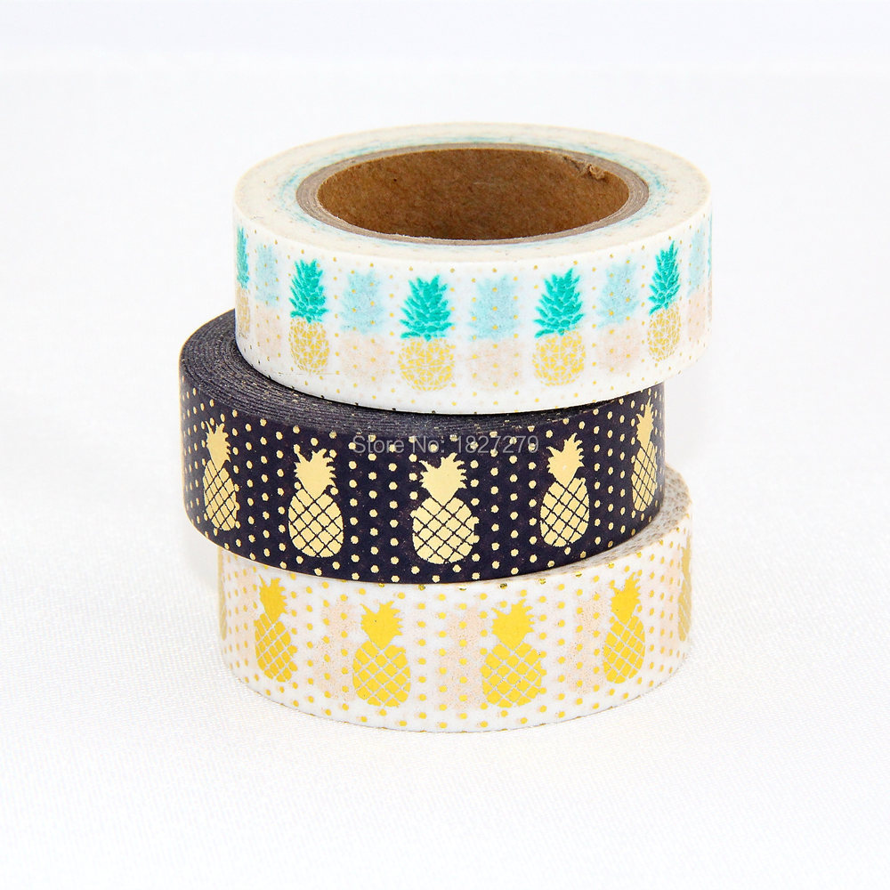 3x new arrival christmas foil pineapple printing washi for Decoration tape