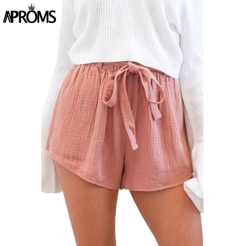 Aproms Women Pink Linen High Waist   Shorts   2018 Boho Beach Summer Elastic Wide Leg   Shorts   Casual Streetwear Bottom   Short   Mujer