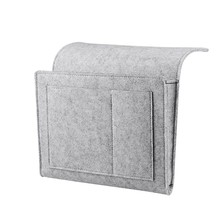 Bedside Caddy Felt Bedside Storage Organizer With Extra Pocket For Bedroom Dorm Room Bunk Or Loft Beds Sofa Light Gray(China)