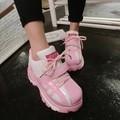 Sapatos casuais mulheres sapatos da moda 2016 novo Bonito sapatos de plataforma superior sapatos de sola Rosa