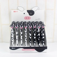 48 Pcs Gel Pens Cartoon Cow Black Colored Kawaii Gift Gel Ink Pens For Writing Cute
