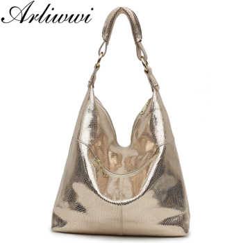 Arliwwi Brand High Quality Real Leather Women Large Shoulder Handbags Fashion Casual Style Gold Messenger Bags Female