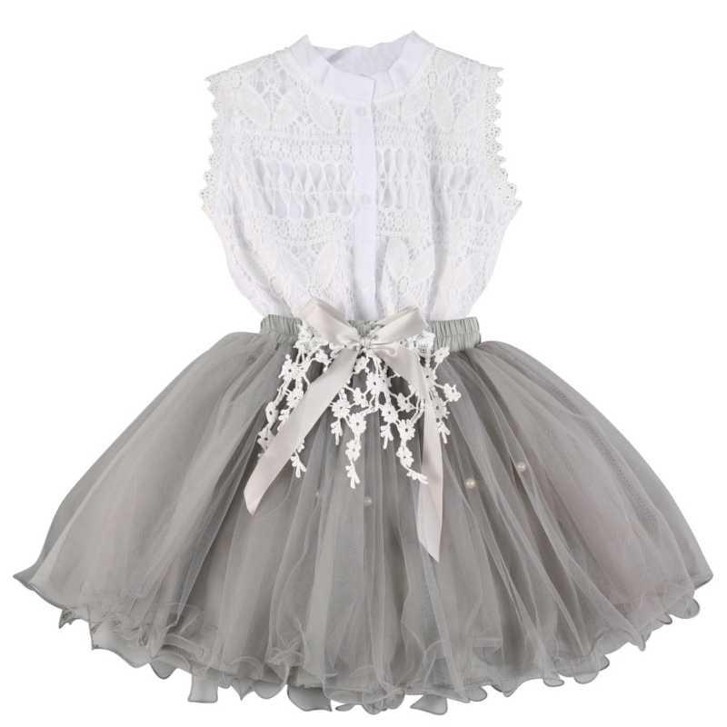 db0a6aadc 2 piezas de verano ropa de bebé niñas de encaje talla camisetas + flor  faldas trajes